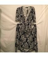 Koh Koh Maxi Dress Kaftan Womens Size Large Black White Gown Vneck Flowy... - $39.99