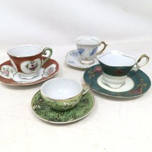 Vintage 1940s- 1950s Japan Demitasse Cup And Saucer Lot Of 4 UCAG Co. Handpaint - $39.89