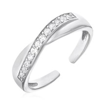 Womens Cute Toe Ring with Crossover Motif in Sterling Silver with Cubic Zirconia - $20.78