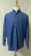 Mens Vintage TOMMY HILFIGER Long Sleeve Casual Dress Shirt Blue Cotton 1... - $31.19