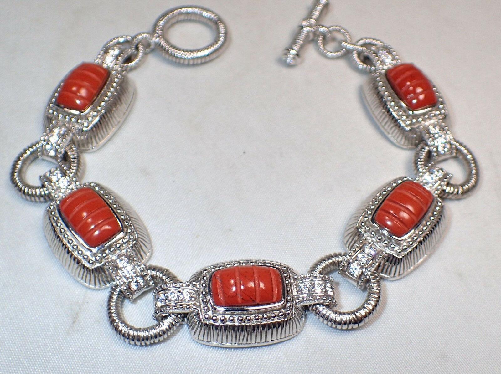 Judith Ripka Sterling Silver Carved Jasper CZ Station Link Bracelet New in Box