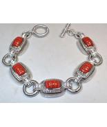 Judith Ripka Sterling Silver Carved Jasper CZ Station Link Bracelet New ... - $140.24