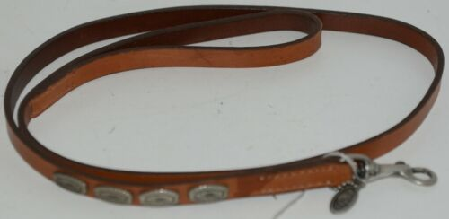 Hamilton Leather Concho Dog Leash 4 feet Long Brown with Metal Design Pkg 1