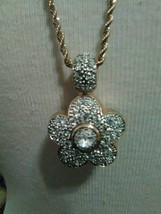 VINTAGE NECKLACE ITALIAN GOLDEN CHAIN REVERSIBLE PAVE FLORAL TO BLACK PE... - $65.00