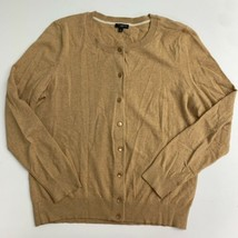Talbots Cardigan Sweater Women's L Petites Brown Button Up Ribbed Long S... - $18.95