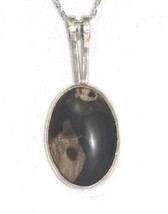 "Solid Sterling Silver Black Brown Agate Bezel Set Pendant and 18""  Itali... - $188.09"
