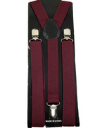 "Unisex Clip-on Braces Elastic ""Burgundy"" Y-back Suspender - $6.92"