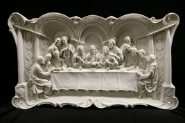 "The Last Supper Jesus Wall Plate Plaque Catholic Statue Made in Italy 29"" Wide - $339.99"