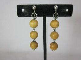 "Vintage Wood Ball Clip Dangle Earrings 2"" West Germany - $19.79"