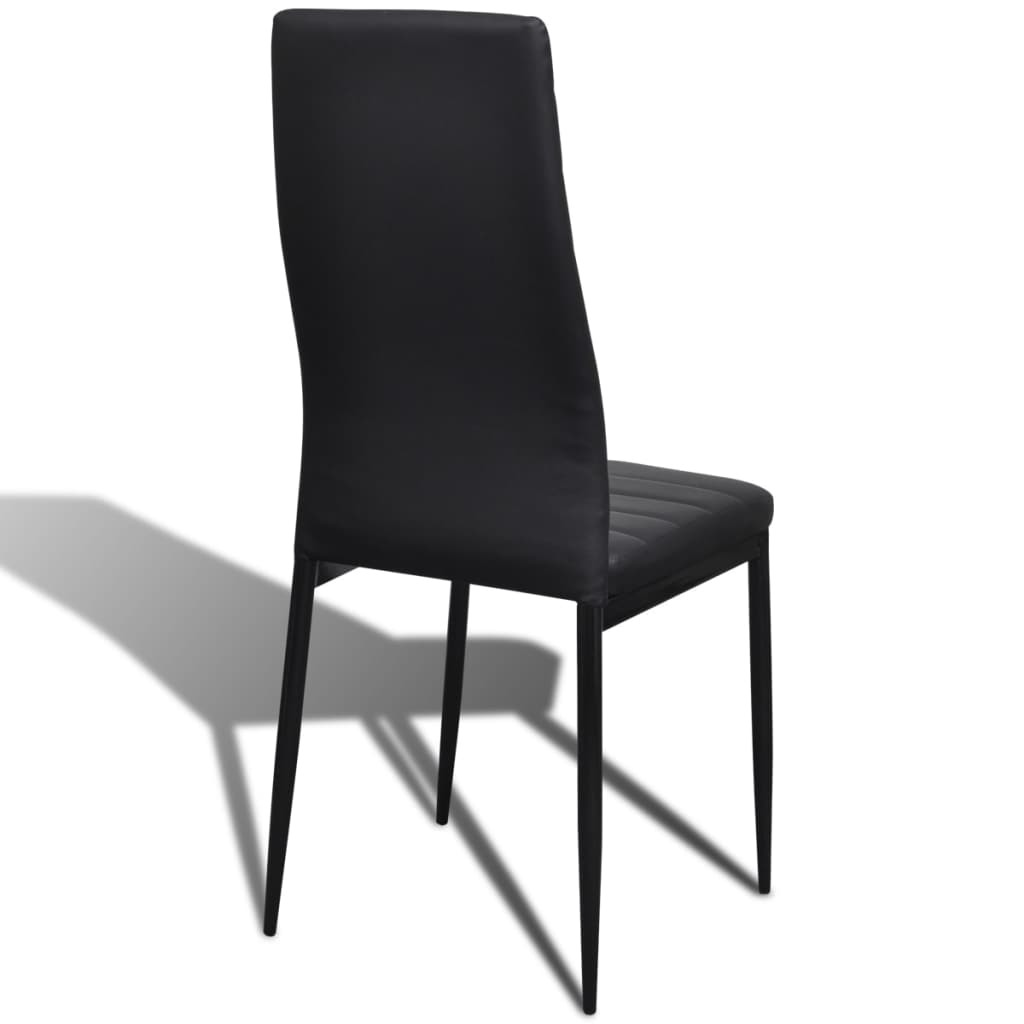 vidaXL Set of 6 Modern Dining Side Chairs Metal Frame Legs Faux Leather Black