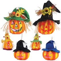 Light Up Halloween Jack O Lantern Decorative Pumpkin Foam Set Of 6 - €31,25 EUR