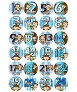 1-24 MONTHS BLUE BANANA MONKEYS Baby Month Onesie Stickers Baby Shower G... - $16.19