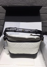 NWT AUTH Chanel 2019 BLACK White Quilted Leather Small Gabrielle Hobo Bag GHW image 2