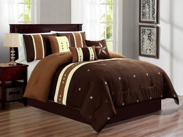 11-Pc Western Star Stripe Lines Comforter Curtain Set Brown Coffee Ivory... - $92.39