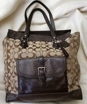 Coach Charlie Signature Python Tote #F31945 Brown/Khaki - $74.25