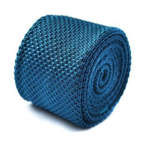 Frederick Thomas knitted teal turquoise knitted tie