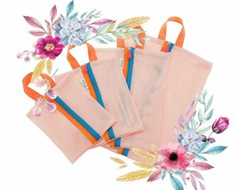 4 Zipper Travel Packing Pouches Mesh Laundry Bag Travel Storage Bags - $12.99