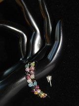 HANDCRAFTED SILVER WIRE WRAPPED TOURMALINE EARRINGS-BLUE PINK GREEN YELL... - $12.87
