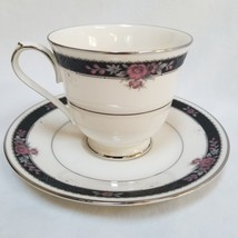 Noritake Etienne Black Floral Teacup and Saucer Ivory Fine China New Japan 7260 - $24.99