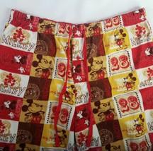 Disney Mickey Mouse 28 Pajama Pants Flannel Bottom Orange Yellow Red Retro sz XL - $24.70