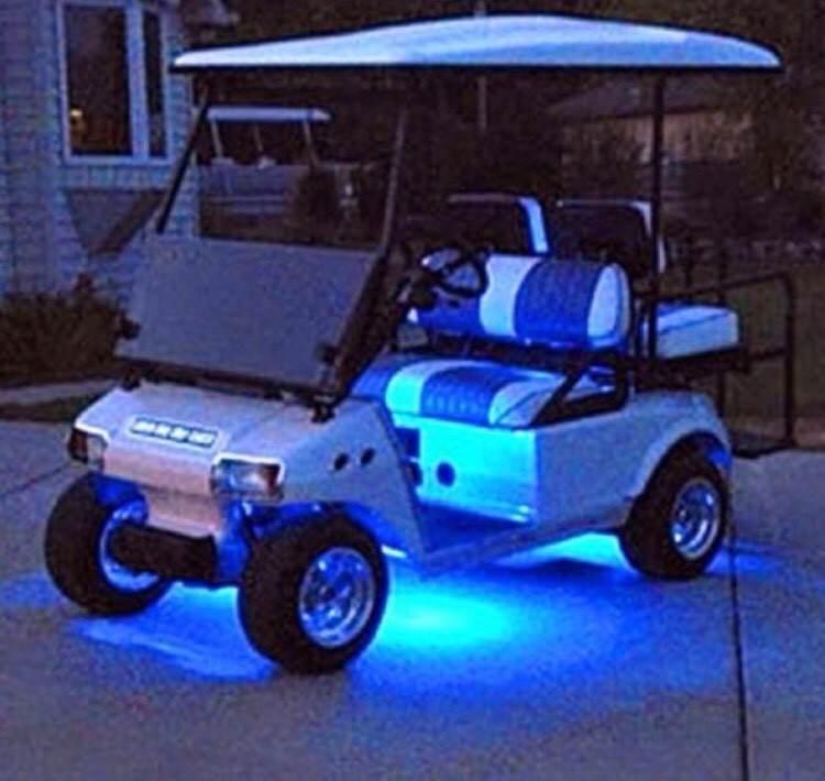 4pc Led Blue Golf Cart Kart Neon Underbody Underglow Light