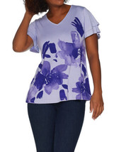 H BY HALSTON Size M Flutter Sleeve Engineered Floral Printed Top PURPLE - $23.24