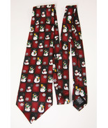 Novelty Neck Tie Silk Christmas Holiday Frosty The Snowman Snowflakes Re... - $36.62