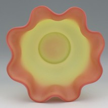 "Vintage 1970 Fenton Art Glass Burmese Satin Bride's Bowl 9"" wide 3 3/4"" tall image 2"