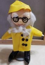 "Old Fisherman Sailor Yellow Rain Coat Hat Rag Doll Collectible 10"" w/ stand - $8.00"