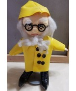 "Old Fisherman Sailor Yellow Rain Coat Hat Rag Doll Collectible 10"" w/ stand - $8.00"