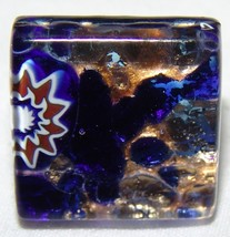 Vetro Di Murano Glass Adjustable Ring Jewelry Italy Blue Gold Square - $38.42