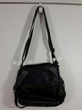b.o.c. Born Concepts Black Leather Shoulder Bag Purse Braided Trim Metal... - $28.05