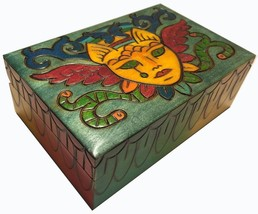Colorful Cat Fantasy Box Polish Handmade Linden Wood Keepsake Feline Face Wings  - $32.66