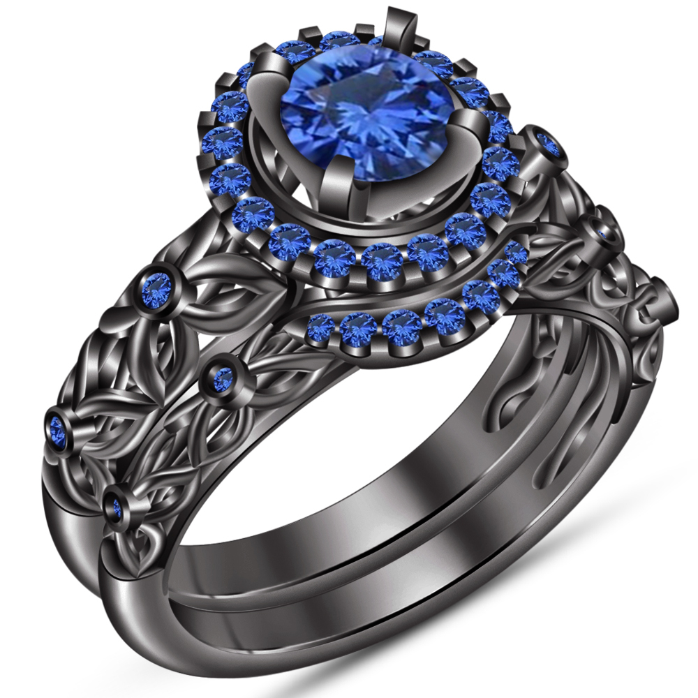 Round Cut Blue Sapphire Bridal Wedding Ring Set 14k Black Gold Plated 925 Silver