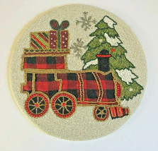 """Christmas Train 14"""" Beaded Placemats Set Of 4 Tree Buffalo Check Flannel... - $83.85"""