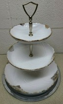 Amazing Vtg Maurice California Pottery USA 3 Tier Tidbit Tray Server Gold/Ivory - $103.84