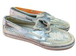 Dexter Womens 130295 Silver Lace Up Low Top Canvas Sequins Boat Shoes Si... - $17.07