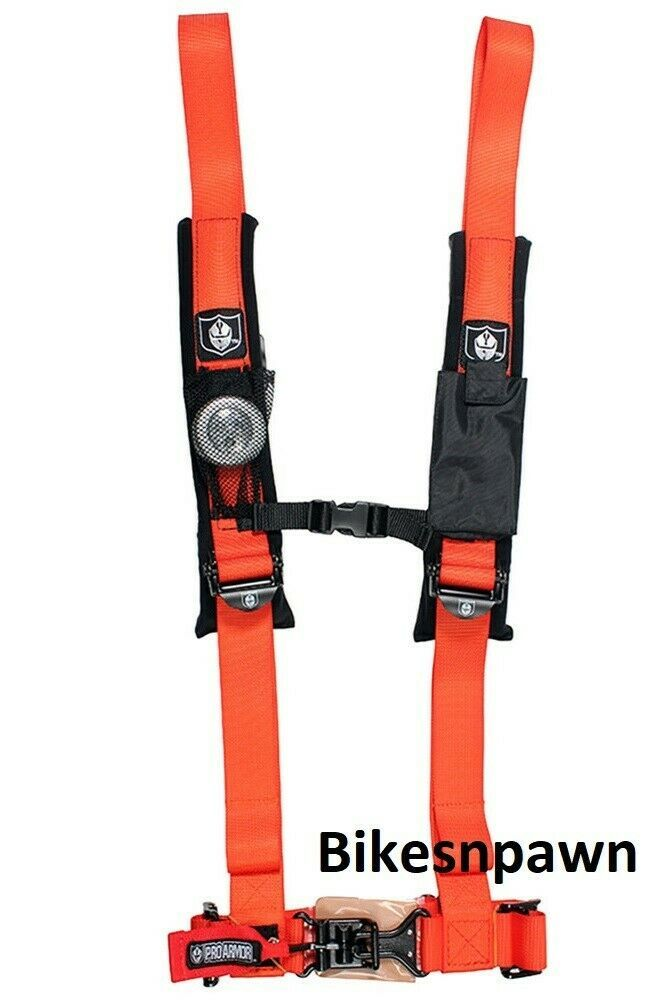 "Pro Armor Orange 4 Point Safety Harness Seat Belt RZR Rhino A114220OR 2"" Pads"