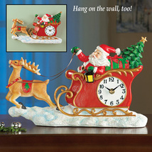 Santa in Sleigh Wall Clock Christmas Decoration - $20.53