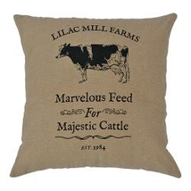 "Burlap 10"" Tabletop ""Majestic Cow"" FARMHOUSE Pillow w/Black Cow - £12.98 GBP"