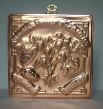 """NIB Cook's Bazaar 9"""" Square Strawberry Mold - Solid Copper With Nickel L... - $12.99"""