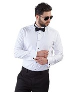 Mens Tailored Slim Fit White Wing Tip Tuxedo Shirt French Cuff Wrinkle F... - $45.22