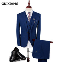 2017 autumn Single button elastic wool wedding suits men,blazer men,wedd... - $144.00