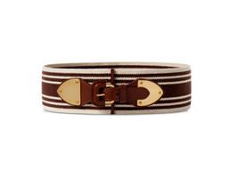 L Ralph Lauren Striped Wide Stretch Belt Brown Canvas Faux Leather - $15.99