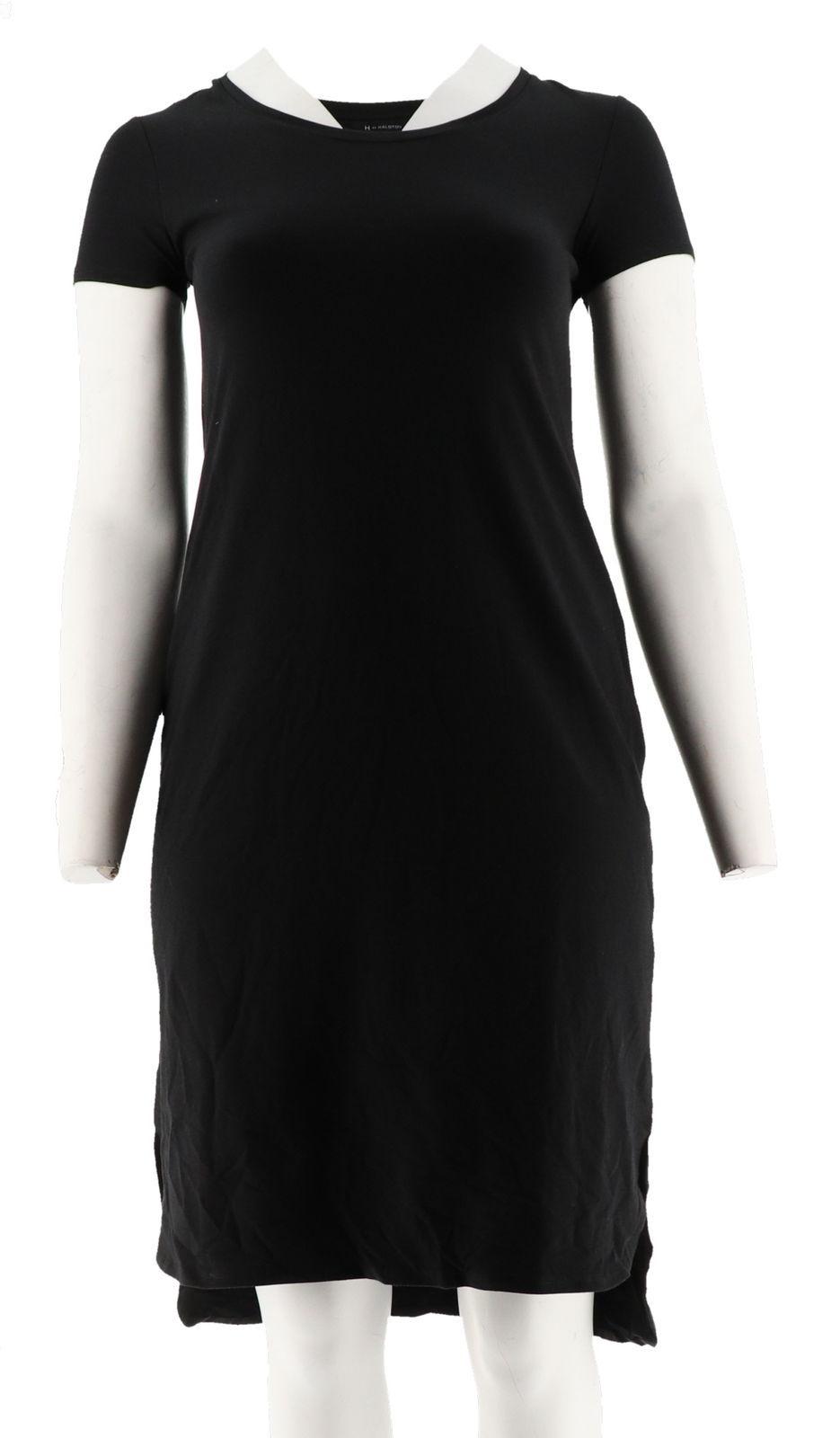 H Halston Essentials Knit Midi Dress Shirttail Hem Black XS NEW A290894
