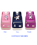 Cute Unicorn Dab cartoon Backpack For Women Girls Canvas bag Color Pink ... - $41.95