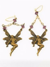 Fantastic Brass tone Vintage Fairy Dangle Pierced Earrings - $29.69