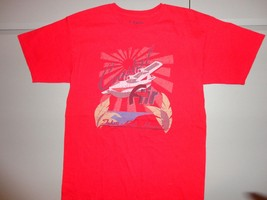 Red Coastal Air Graphic Airplane T Shirt S Free Shipping US - $17.13