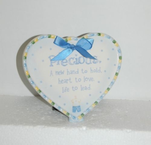 Baby-Boy Plaque Heart Shaped White Blue Green Color With Bow Tie Precious