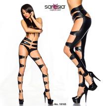 Saresia ! look mouillé STRIPTEASE Legging Cut-Outs ANNEAUX CUIR VERNI NO... - $46.34